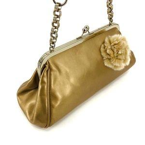 Liz Claiborne Gold Fur Rose Handbag